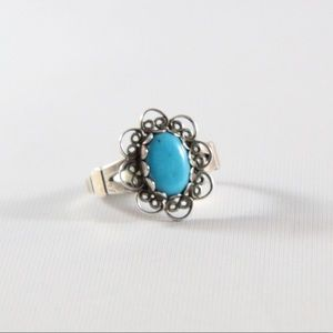 Jewelry - SOUTHWESTERN Sterling Turquoise Scroll Midi Ring